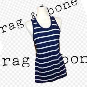 Rag & Bone Striped Tank Top Navy/White Size S